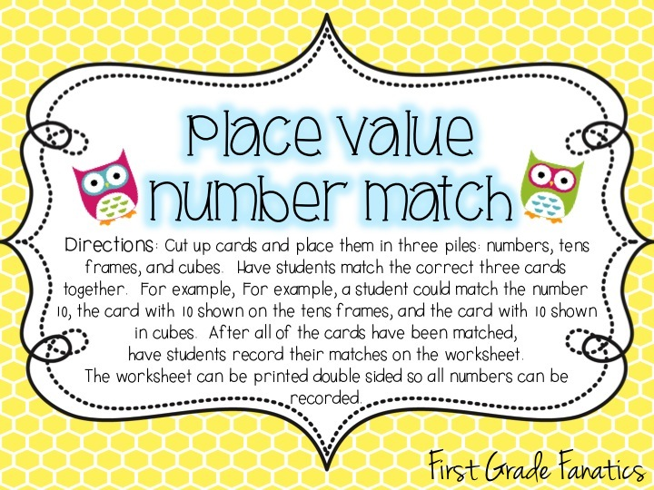image about Printable Place Value Game identify Initial Quality Fans: Coming up with For Area Really worth