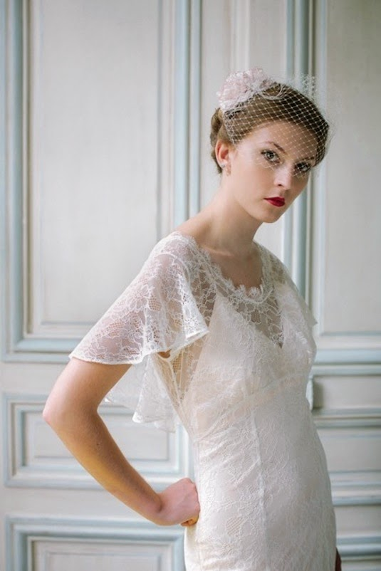 How to wear Birdcage veil for vintage wedding dresses - Heavenly Vintage Brides