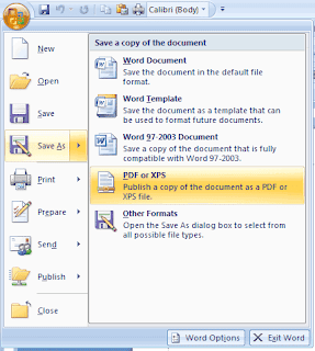 Tips Conversion to PDF from Office 2007