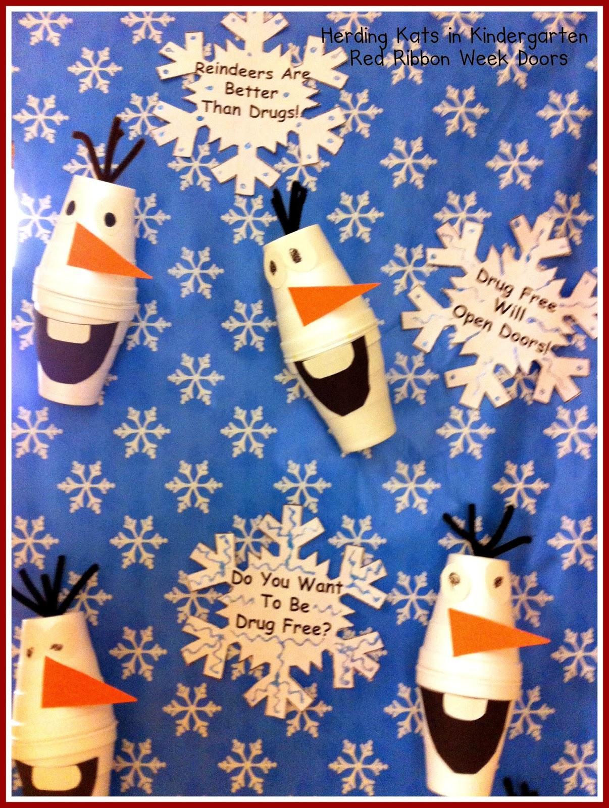 Printable Classroom Winter Decorations ~ Herding kats in kindergarten red ribbon week doors