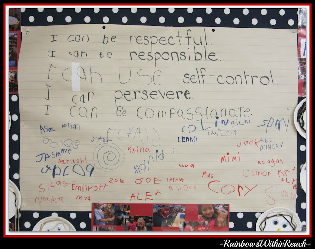 I Messages in Kindergarten on Positive Behavior Traits on Bulletin Board