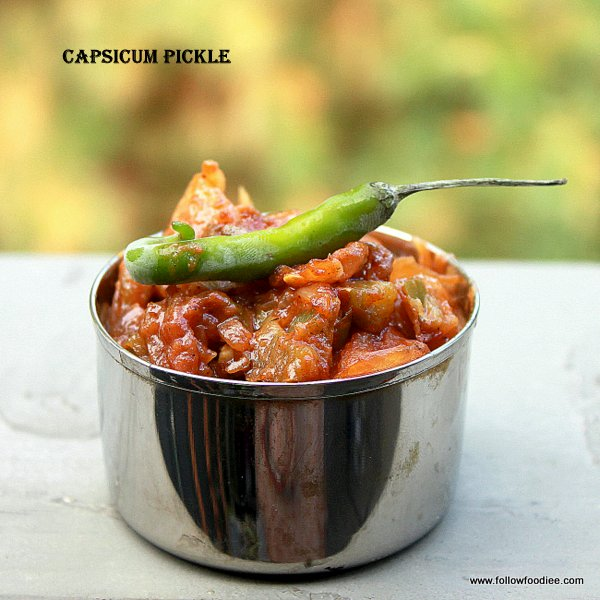 Easy pickle recipe made with capsicum aka , Bell peppers