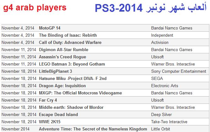 ألعاب شهر نونبر 2014 PS3