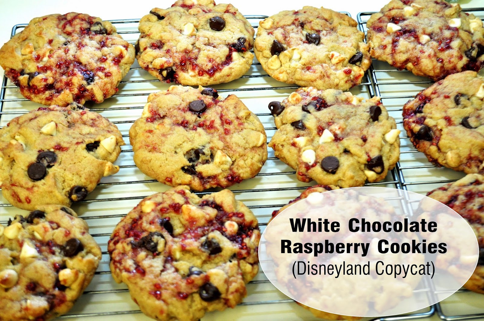 White Chocolate Raspberry Cookies (Disneyland Copycat) | The Grateful ...