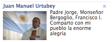 Facebook: Urtubey y el Papa Francisco