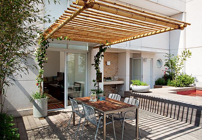 cerca artesanal para jardimPergola De Bambu