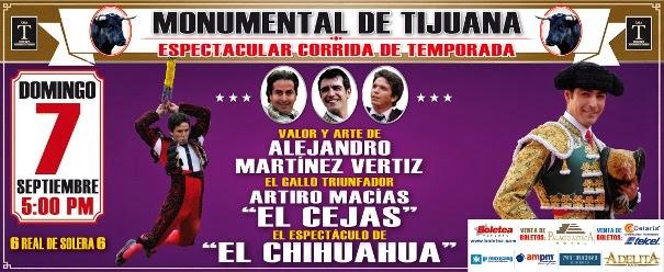 Vertiz, Macías y El Chihuahua, anunciados en Tijuana, el 07/09.