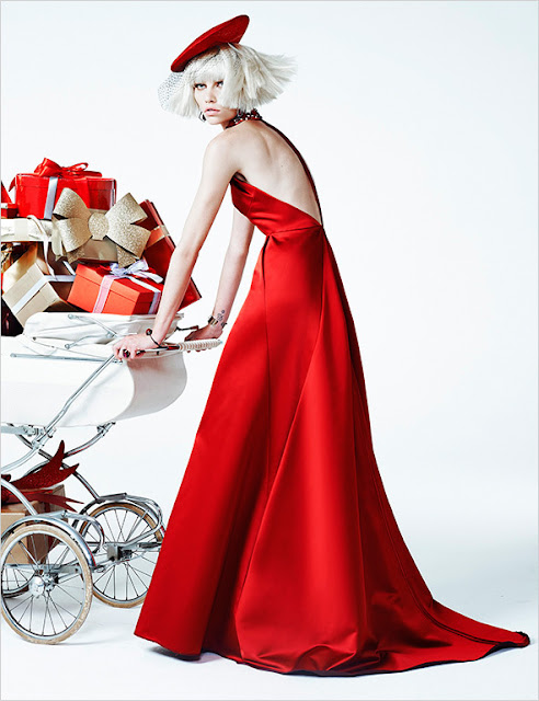 Christmas fashion editorial - Aline Weber for Vogue Brazil December 2013