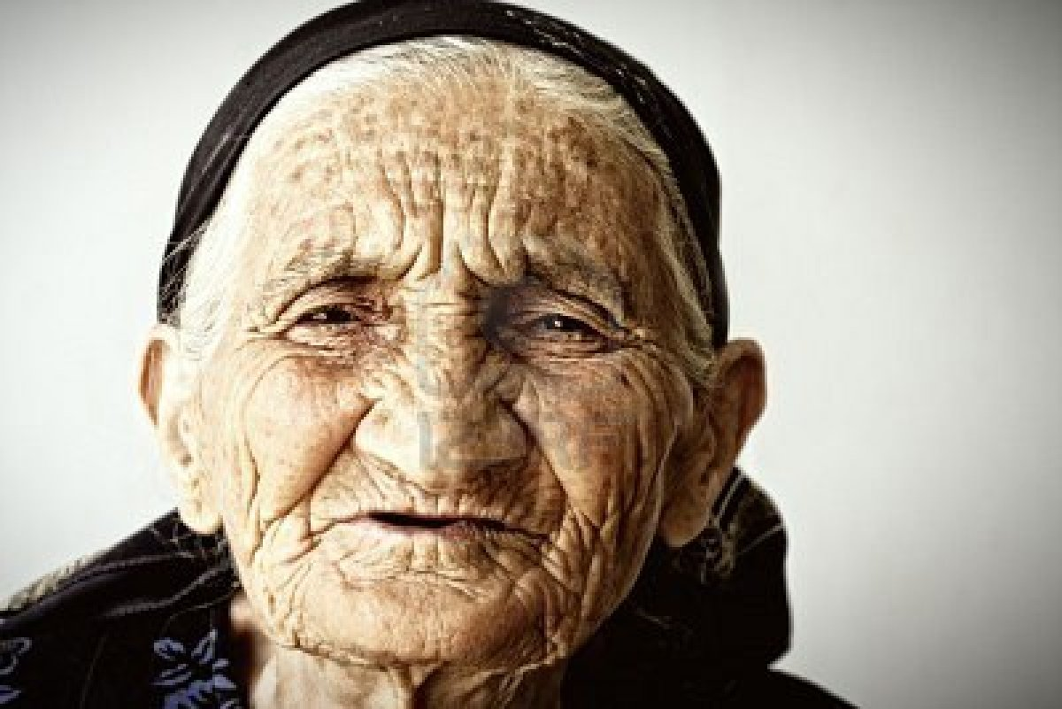 Old Wrinkled Woman Face