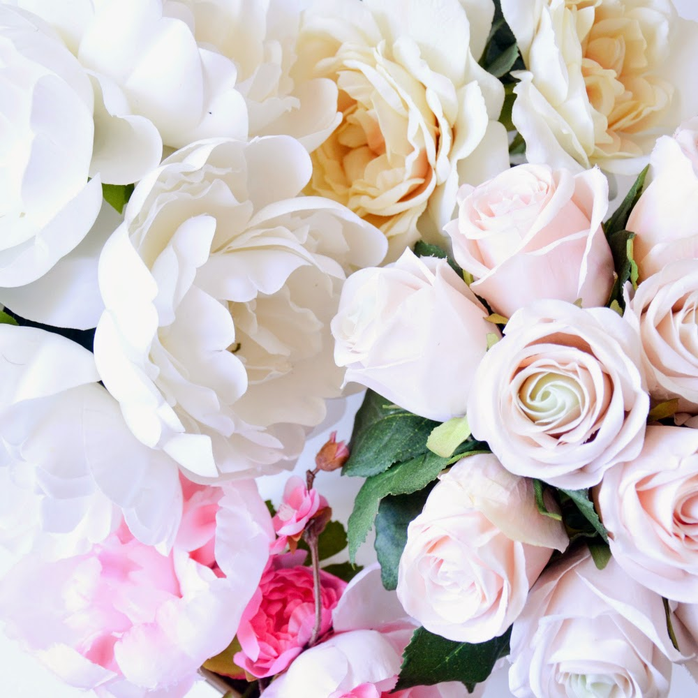 Blush roses, white peonies, and cherry blossoms, spring time flowers