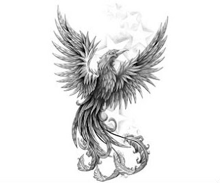Black and white phoenix tattoos