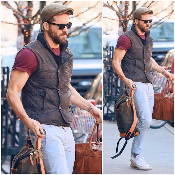 Ryan Reynolds wears Brunello Cucinelli Double-Breasted Suede Vest in New York December 2014