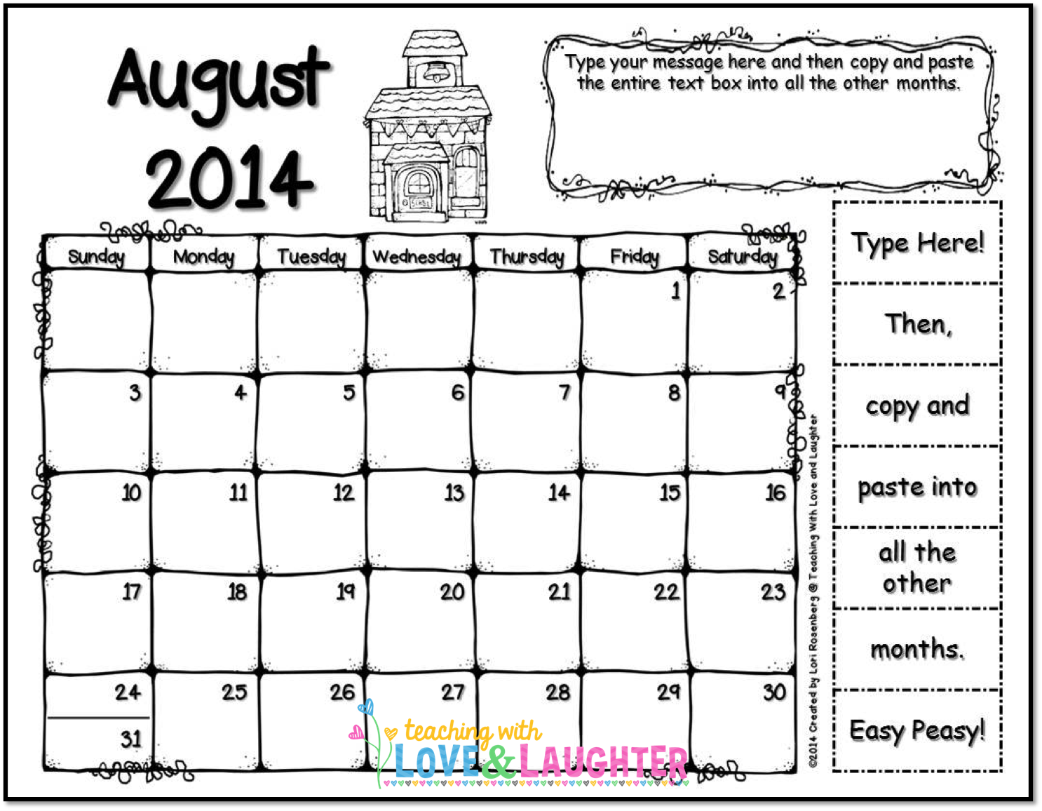 Calendar Chart : Teaching with love and laughter clip chart