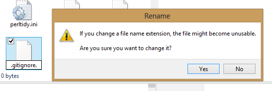 "Windows Explorer prompting the user to confirm they want to change a file name extension, as a result of specifying the filename as "".gitignore."""