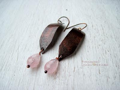 orecchini pendenti lunghi rame e quarzo rosa magikemani