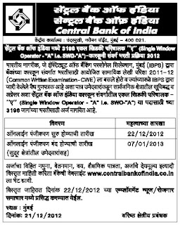 Central Bank Clerk Recruitment 2012 - 2013
