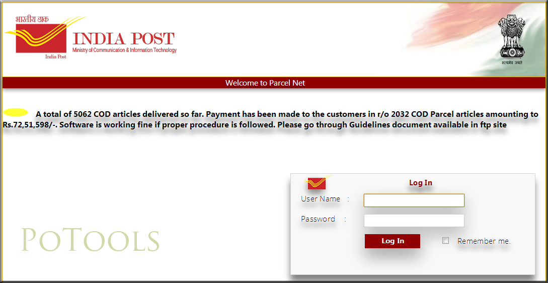 Parcel Net Mis Site Launched By Cept Po Tools