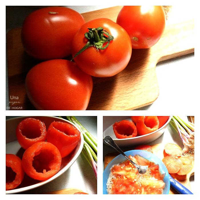 tomates naturales preparados para asar. Trigueros