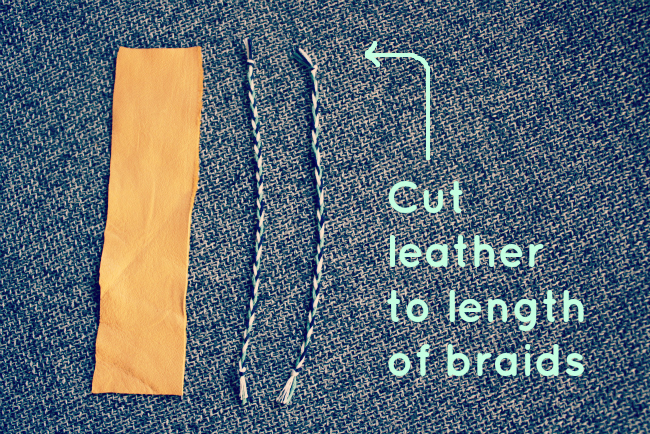 Cut leather to length of braids