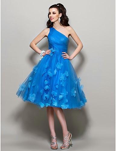Vestido de Baile de Tul Azul Un Hombro
