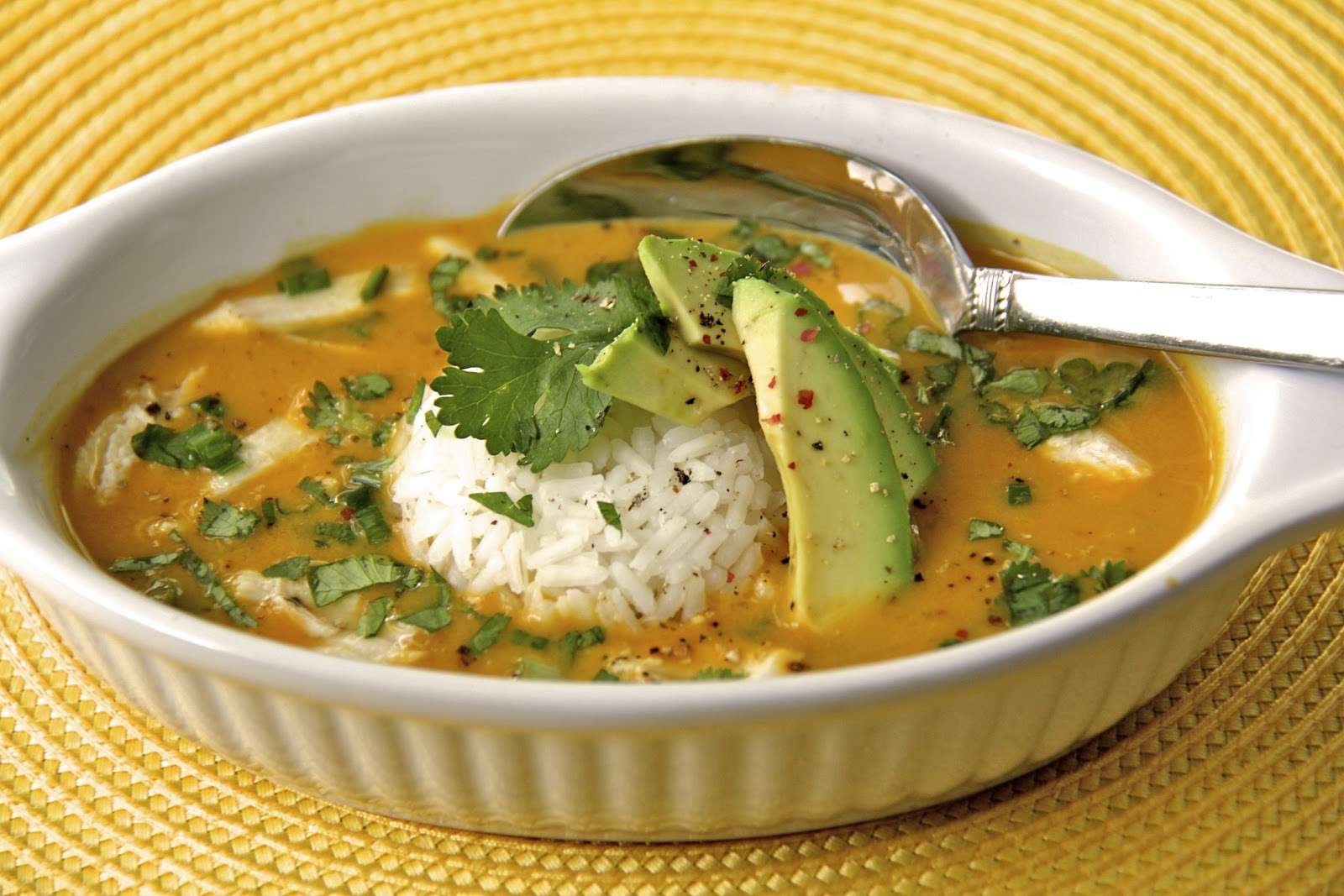 Curried Coconut Pumpkin Soup with Chicken and Jasmine Rice