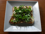 Grilled Pizzetta with Ricotta, Sausage, Arugula & Chili Oil