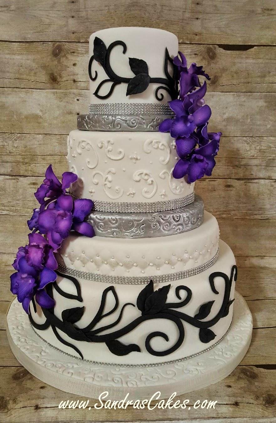 Modern Black, White and Purple Wedding Cake
