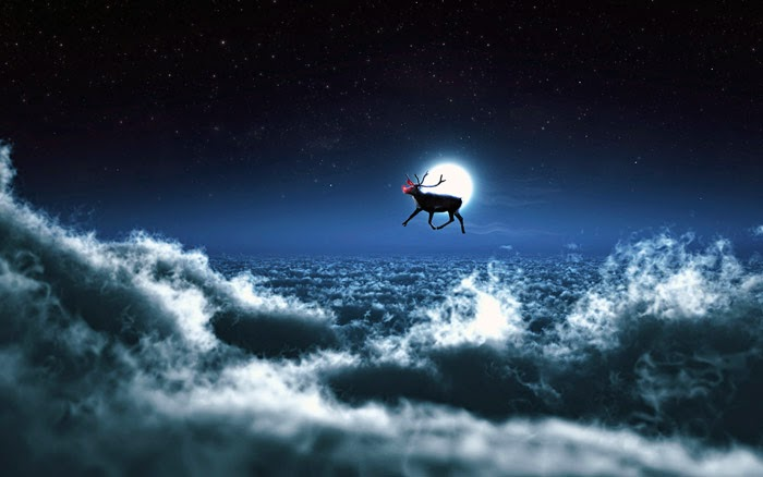 Santa Reindeer - Free Christmas Wallpaper