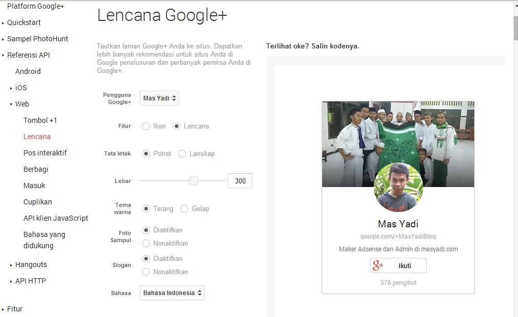 Cara Pasang Google+ badge di Sidebar Blog Paling Mudah