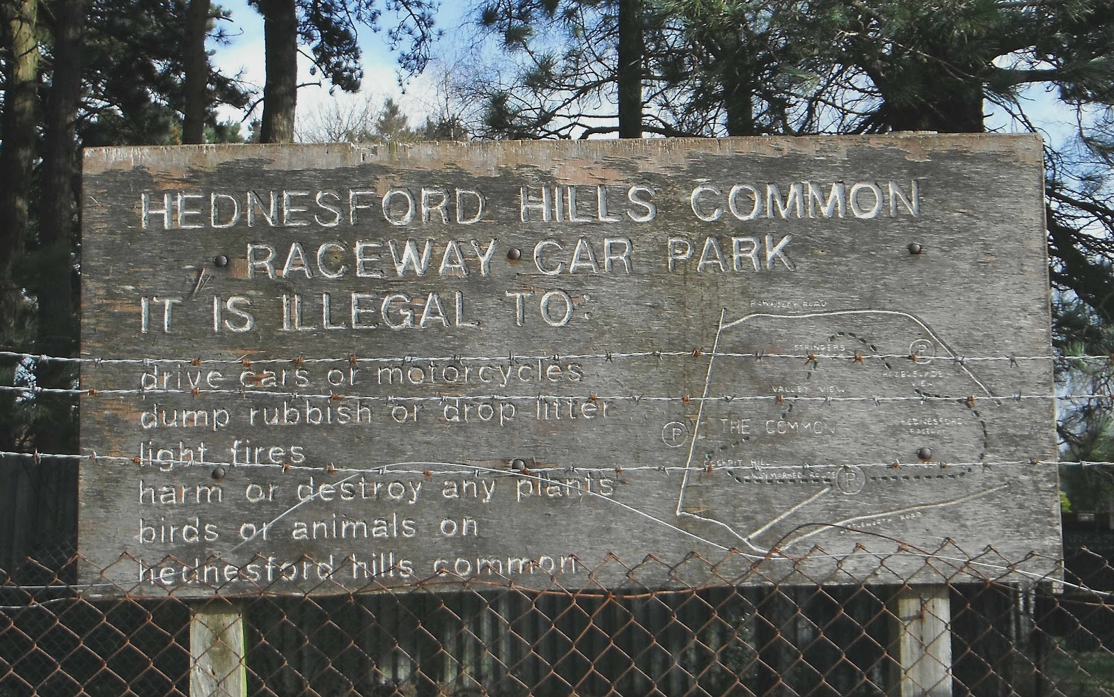 Hednesford Hills Raceway car park sign