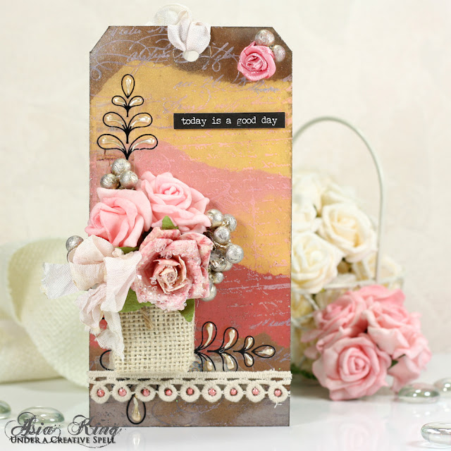 Shabby chic vintage tag with flowers