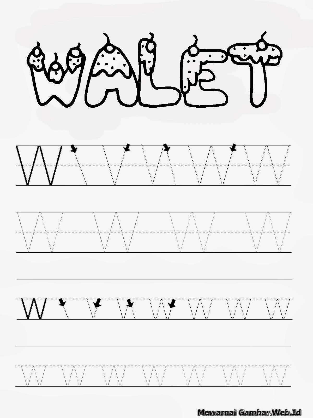 Belajar Menulis Hurup Alfabet W