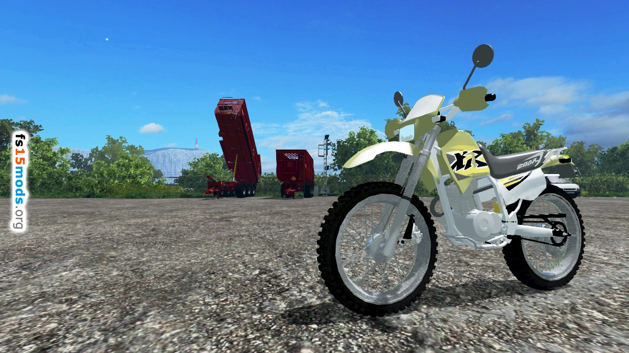 Honda XR 200R motocross with realistic suspension.