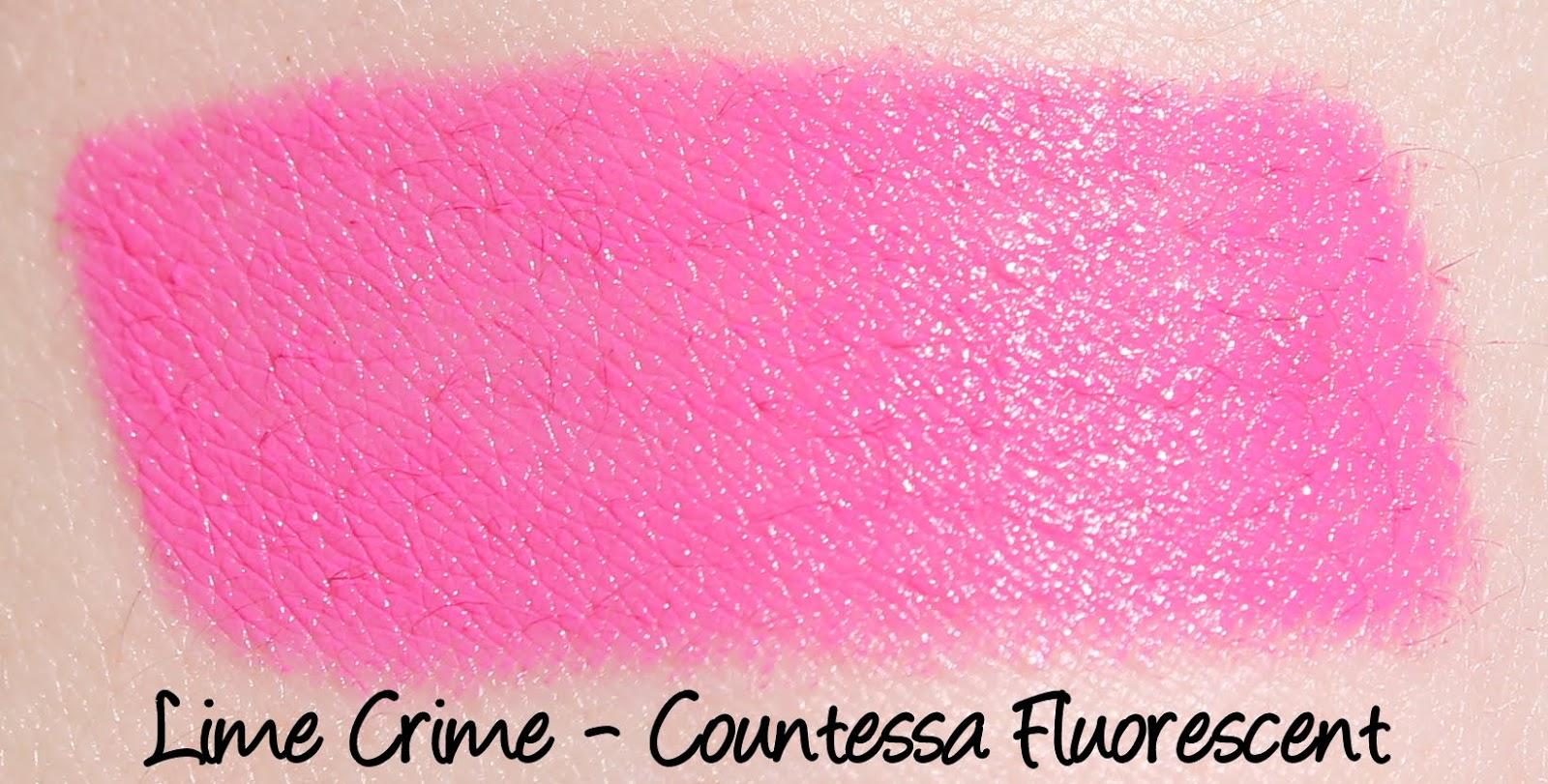 Lime Crime Countessa Fluorescent Lipstick Swatch