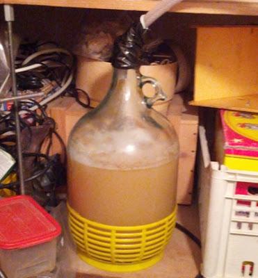 Damigiana-carboy con la birra alla melagrana in fermentazione