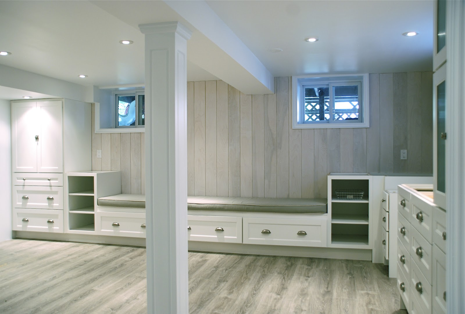 The basement first look rambling renovators - Finished basement storage ideas ...