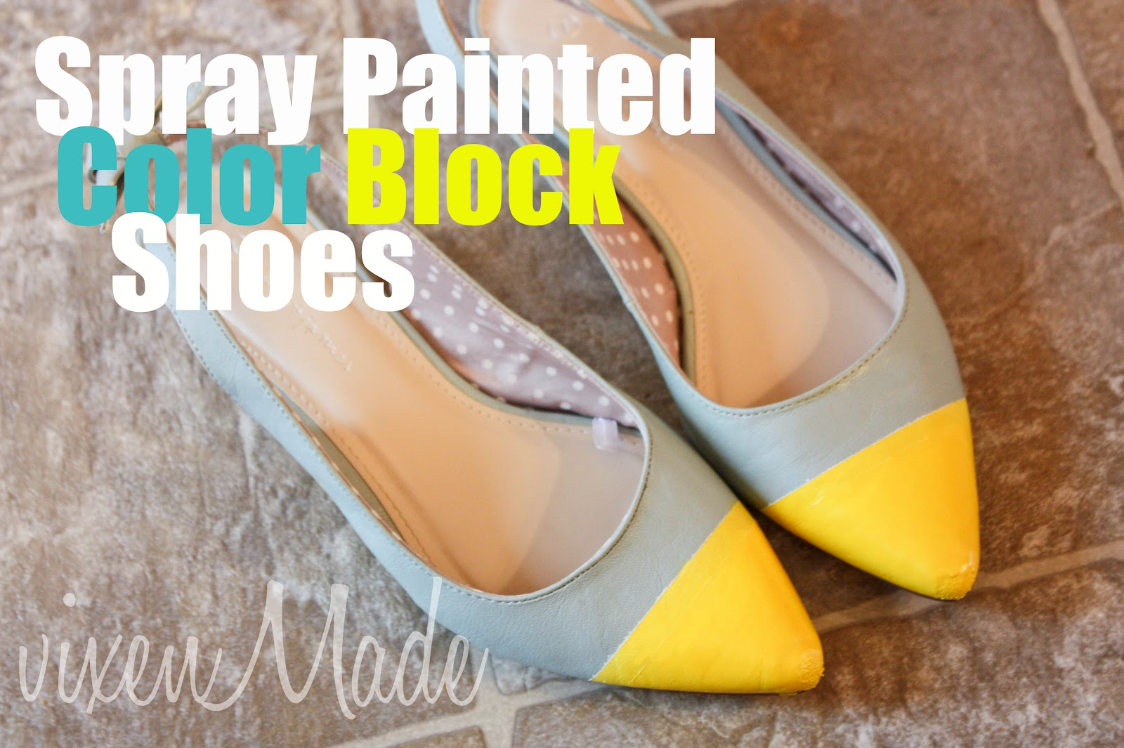 old shoes and some spray paint i created some diy color block shoes. Black Bedroom Furniture Sets. Home Design Ideas