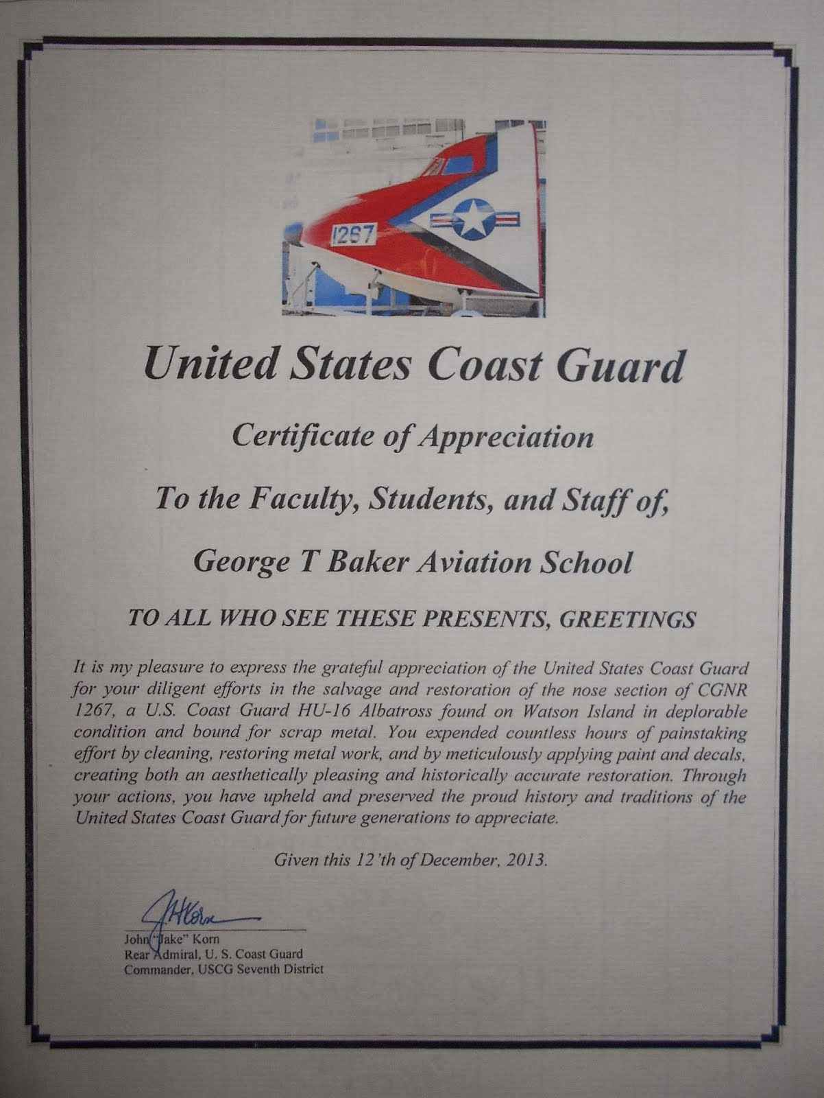 U.S.C.G Commander 7th District-Miami Letter of Appreciation