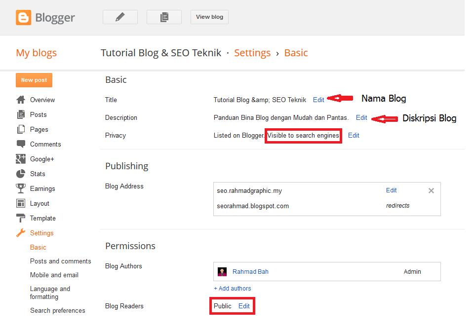 Setting Asas Pada Blogspot Yang Perlu Di Ketahui