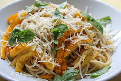 Pasta with summer squash, garlic, and basil