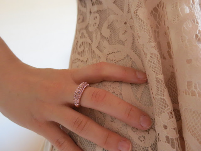 Latte lace top and pink and rose gold sparkly ring