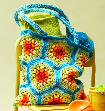 Rainbow Hexagon Beach Bag - Free Crochet Pattern