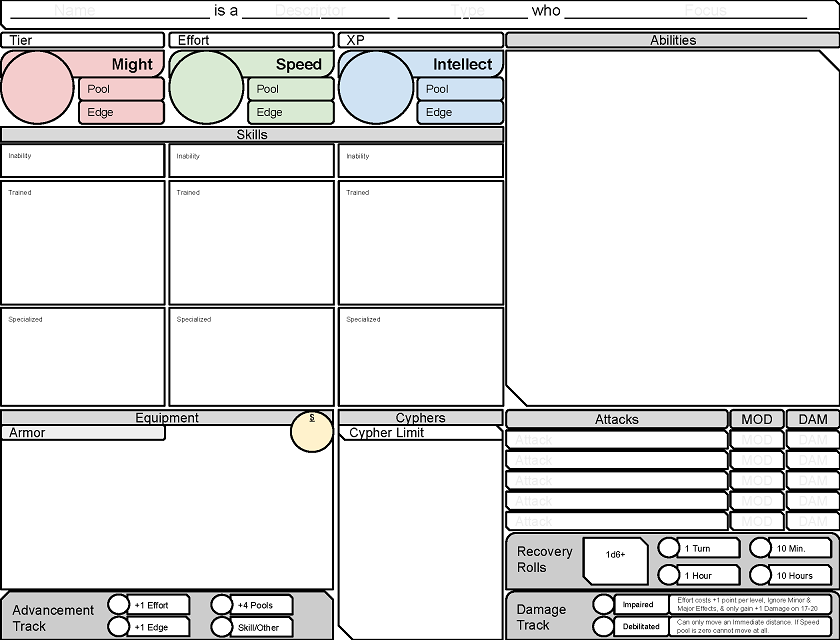 Custom Character Sheet Design : Inspiration strikes tuesday tools cypher system