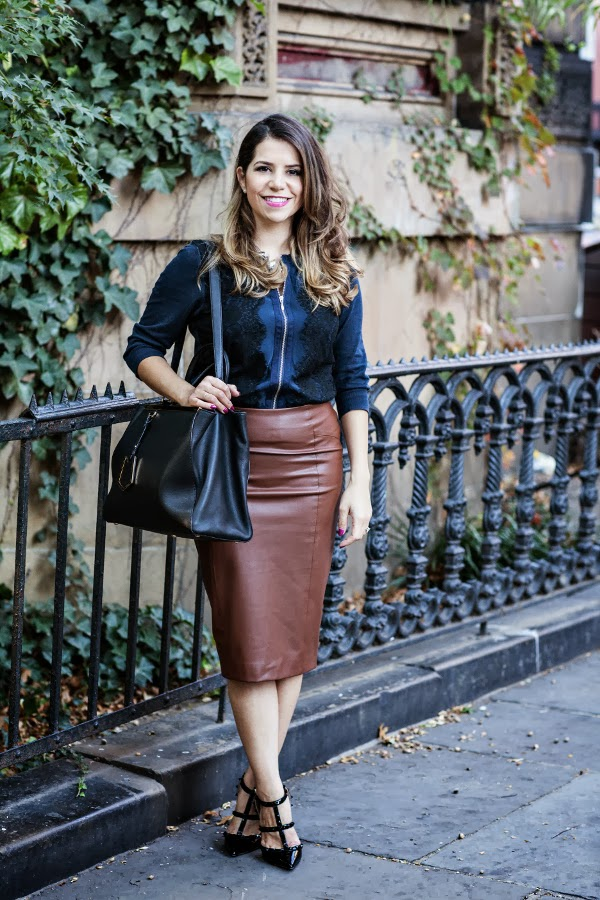 Fashion Mania: Black & Brown :: Faux Leather Skirt & Blue Sweater