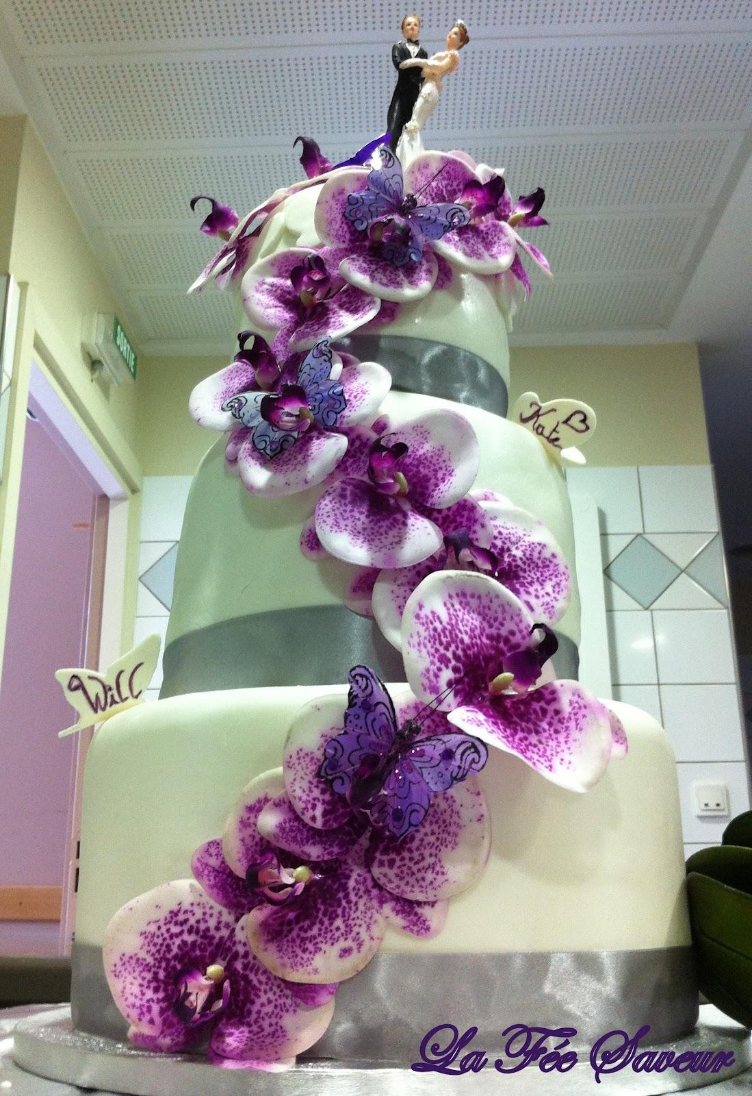 Très La Fée Saveur.: Wedding cake décoration orchidées et papillons QG01
