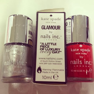 Red and Silver nails inc polish varnish by Kate spade - beauty offer