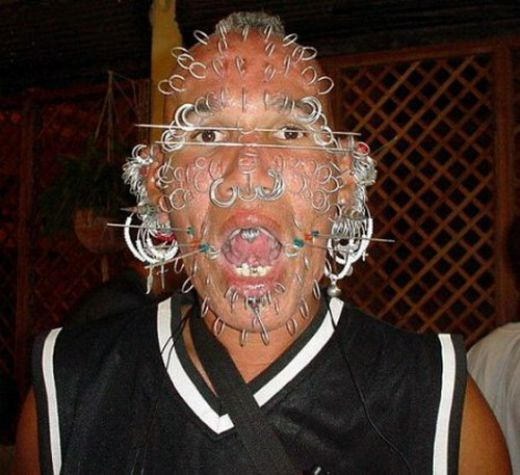 Crazy facial piercings