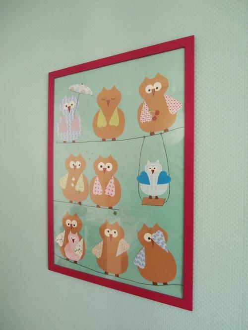 Wandbild Wandschmuck Eulen Kinderzimmer