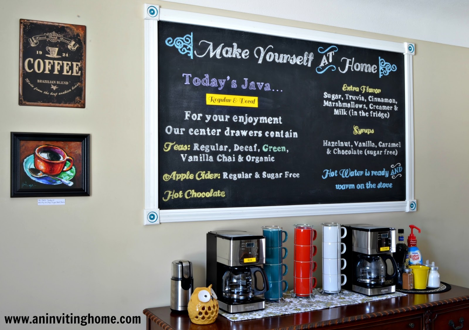 custom chalkboard coffee house sign in our home