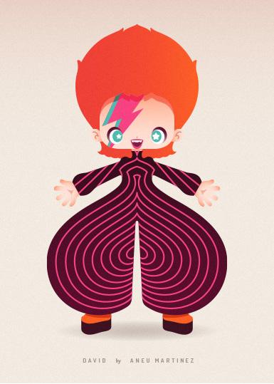 David Bowie aka Aladdine Sane aka Ziggy Stardust by Aneu Martinez
